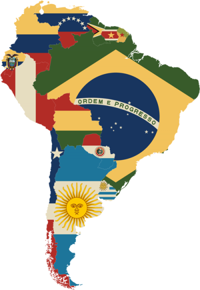 South America : map of national flags
